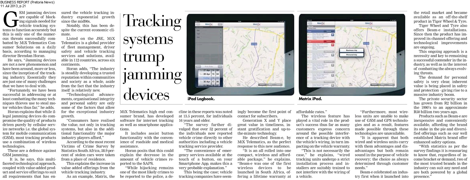 Car Tracking Devices >> Tracking systems trump jamming devices   Matrix Vehicle ...