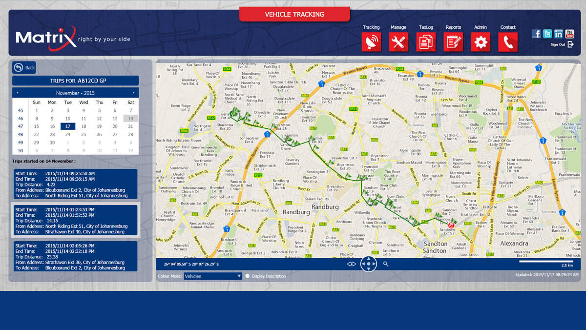 Enjoy free access to Matrix's online vehicle tracking portal, which allows you to access detailed reports and pinpoint positioning of your vehicle on an interactive map