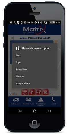 The Matrix app links with your phone's navigation, allowing you to plot routes from your phone to your car or from your vehicle to another vehicle tracked on your account.